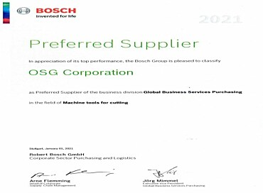 OSG Corporation is Preferred Supplier Bosch